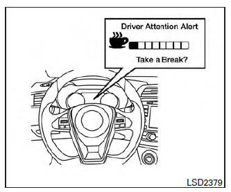 Nissan Maxima. Driver Attention Alert system operation