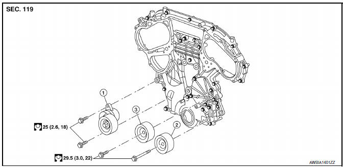 Nissan Maxima. Removal and Installation of Drive Belt Auto-tensioner
