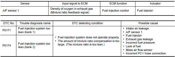 Nissan Maxima Service and Repair Manual - P0171, P0174 fuel