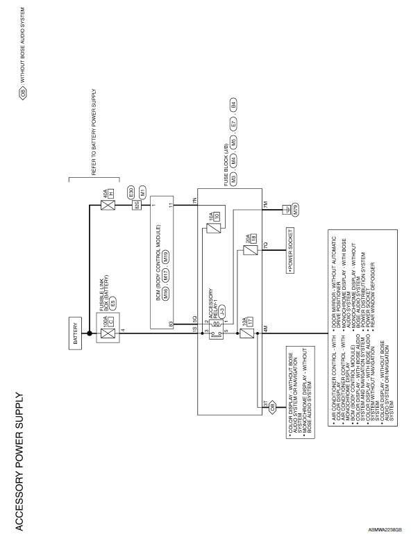 Nissan Maxima. Wiring Diagram -Accessory Power Supply -