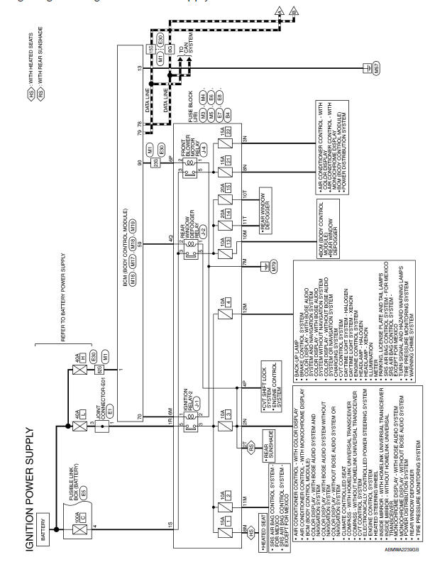 Nissan Maxima. Wiring Diagram -Ignition Power Supply -