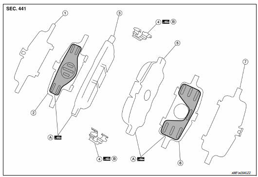 Nissan Maxima. Exploded View of Brake Pads